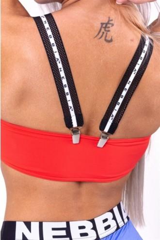 Bikini top bandeau lekapcsolható pántokkal 672 - Piros