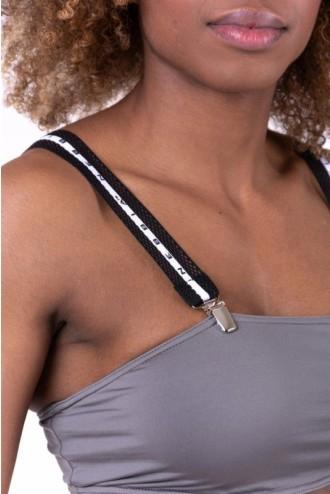 Bikini top bandeau lekapcsolható pántokkal 672 - Szürke