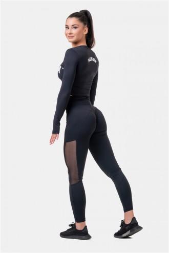 Leggings Mesh magasított derékkal 573 - Black